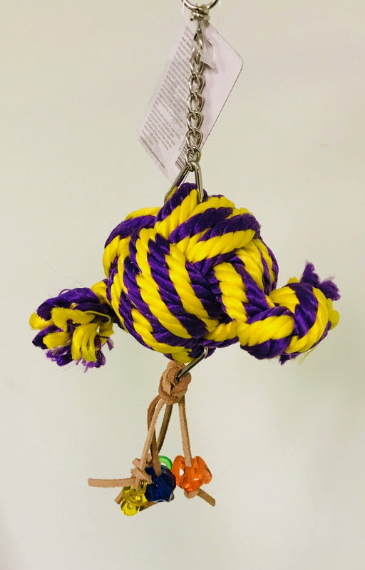 PB15060B (Bird Toy, PP Rope Toy w/ Acrylic Toys on Leather Rope, 2 Knots.  Size: ...