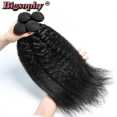 Bigsophy Indian Hair Wave Bundles Kinky Straight Human Hair 4 Bundles Remy Hair Extensions Yaki Hair Weft Natural Black Color