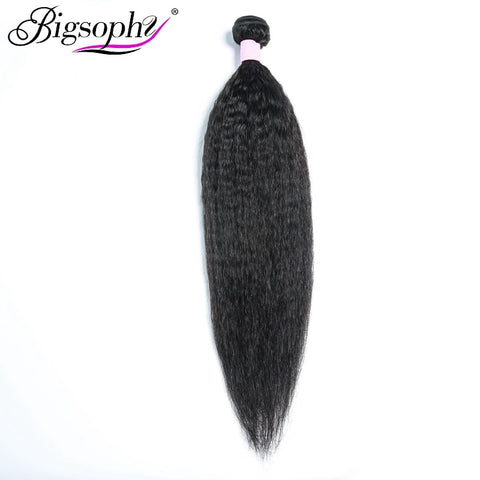 "Bigsophy Brazilian Hair Kinky Straight Wave Hair Human Hair Bundles Yaki Texture 8""-28""inch Natural Color 100% Remy Human Hair"