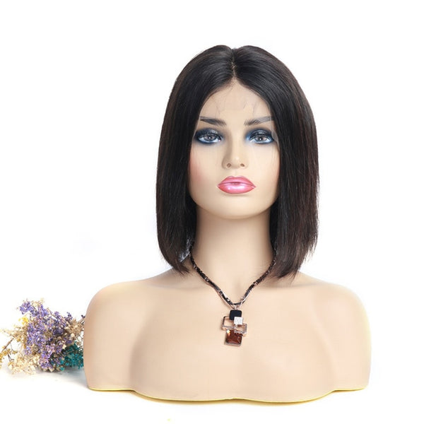 150% Density Lace Front Human Hair Wigs with Baby Hair Black Women Bob Short Wig Pre Plucked Straight Remy Indian Human Hair WIG