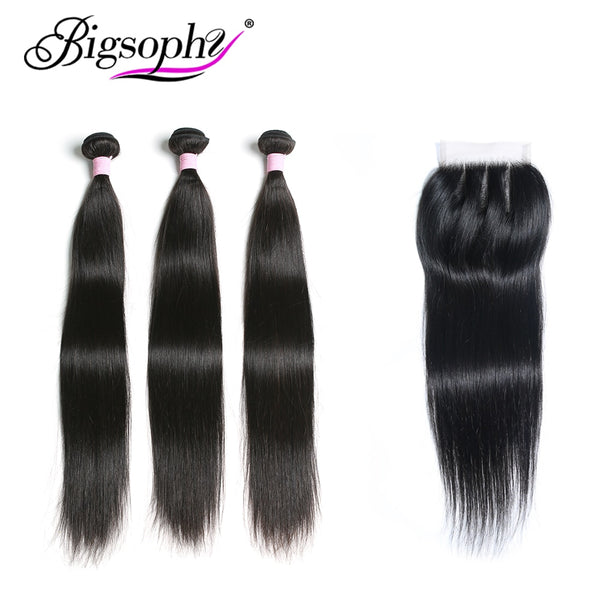 Brazilian Hair Straight Bundles With Closure 100% Human Hair Bundle With frontal 3 Bundles With Lace Closure Remy Hair BIGSOPHY