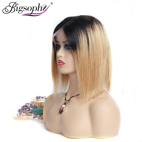 Bigsophy Bob Wig 150 Density Mongolian Straight Short 13X6 Ombre Lace Front Human Hair Bob Wigs  With Baby Hair Remy Hair Wig