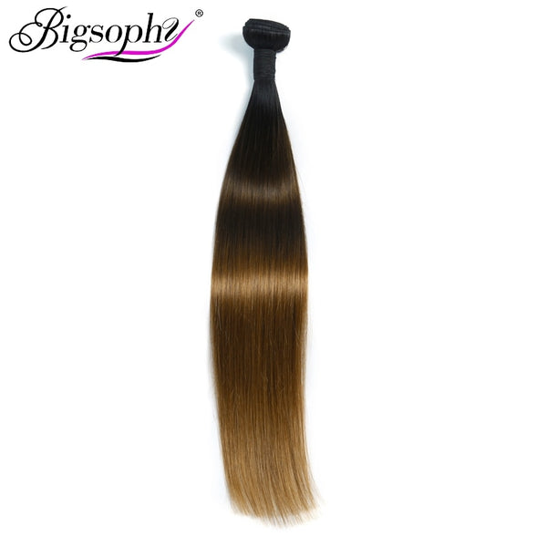 Bigsophy Hair Products Peruvian Capello Um Weave Bundles Ombre Straight Color 1B/4/27 10to28 Inches 1 Piece Remy Hair Extension
