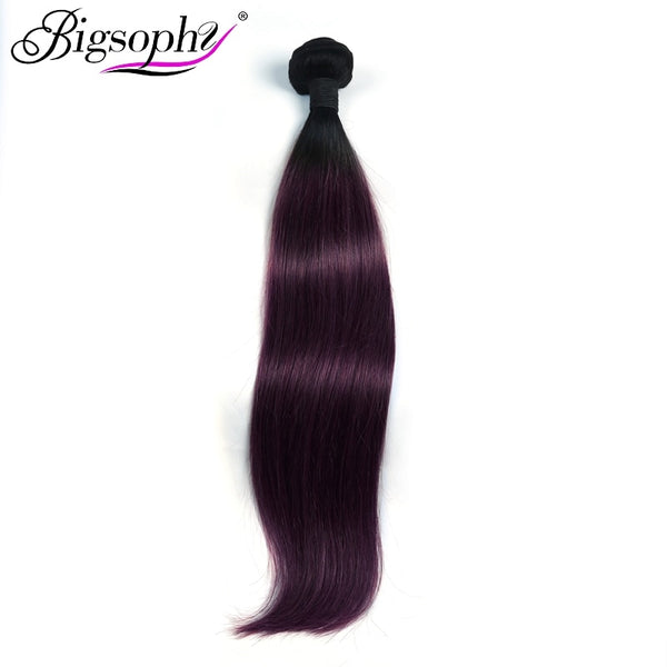 "Bigsophy Malaysian Hair Weave Bundles Human Hair Straight 10""-28"" 2Tone 1B/99J Ombre Remy Hair Extension Can Buy 3/4 Bundles"