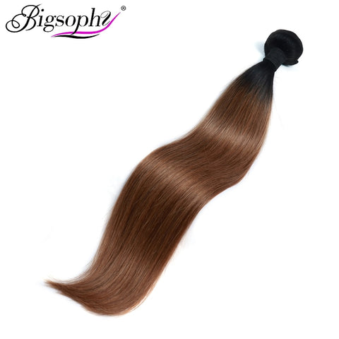 "Bigsophy Brazilian Hair Weave Bundles Human Hair Straight 10""-28"" 2 Tone 1B/30 Ombre Remy Hair Extensions Can Buy 3/4 Bundles"