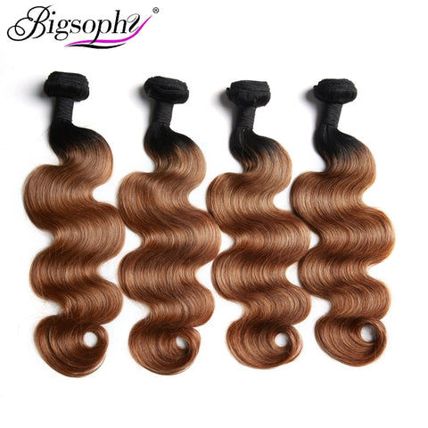 Bigsophy Malaysian Hair Weaving Bundles Human Hair Bundles Body  Wave 4pcs Deal Remy Hair Extensions Ombre Color 3 Tone T1B/4/30
