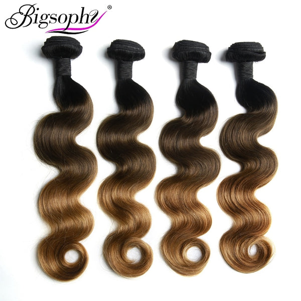 Bigsophy Peruvian Hair Bundles Body Wave Human Hair 4 Bundles Remy Hair Extension Ombre Color 3 Tone 1B/4/27 Can Buy 3/4 Bundles