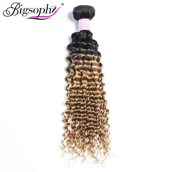 "Bigsophy Peruvian Hair Weave Bundles Human Hair Deep Wave 10""-28"" 2 Tone 1B/30 Ombre Remy Hair Extension Can Buy 3/4 Bundles"