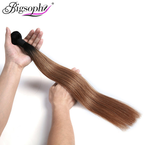 "Bigsophy Peruvian Hair Weave Bundles Human Hair Straight 1pc 10""-28"" 2 Tone 1B/30 Ombre Remy Hair Extension Can Buy 3/4 Bundles"