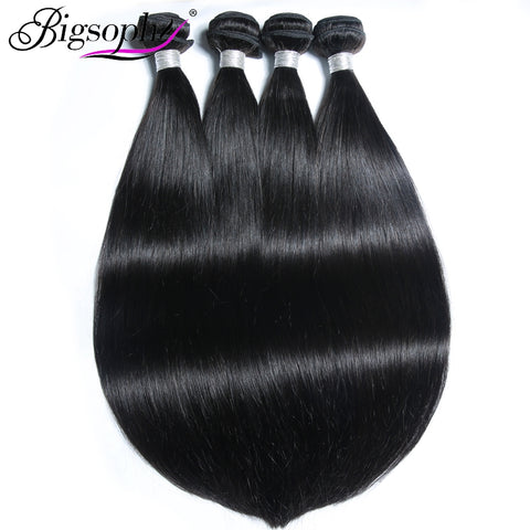 Bigsophy Mongolian Hair Bundles Silky Straight Human Hair 4 Bundles Deal Remy Hair Extensions Original Hair Weft Natural Color