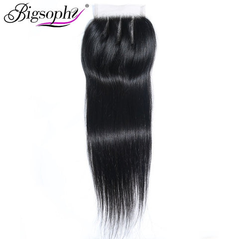 Bigsophy Brazilian hair straight closure100% Human Hair 8-22 Inch 4*4 Lace Closure Remy Hair Weaving swiss lace frontal closure