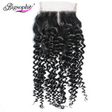 Bigsophy Mongolian Kinky Curly Closure 4*4 Human Remy Hair Lace Closure With Baby Hair Free Middle/Three/Part Human Hair Closure