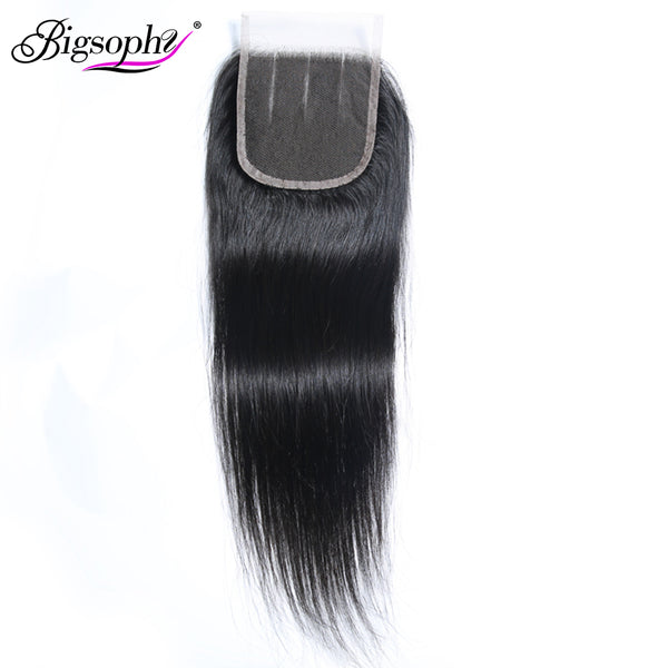 Bigsophy Peruvian Hair Lace Closure 4x4 Straight Wave Human Hair Lace Closure With Baby Hair Swiss Lace Human Remy Hair Closure