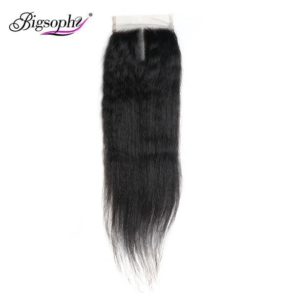Bigsophy Peruvian Kinky Straight Lace Closure 4*4  Human Remy Hair Lace Closure With Baby Hair Human 6-20 Closure Natural Color