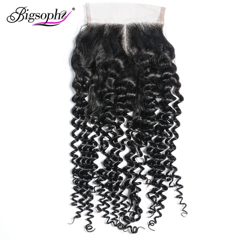 Bigsophy Mongolian Kinky Curly Closure 4*4  Human Hair Lace Closure With Baby Hair Free Middle/Three/Part Remy Human Hair