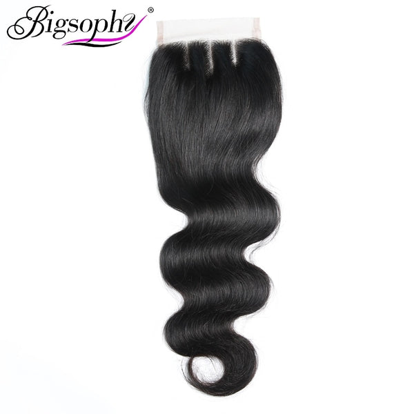 Bigsophy Brazilian Body Wave Closure 4*4 Human Hair Lace Closure With Baby Hair Free Middle/Three/Part Remy 100% Human Remy Hair