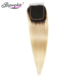 Bigsophy Malaysian Hair Lace Closure 4x4 Straight Wave Human Hair 1B/ 613 Blonde With Baby Hair Swiss Lace Remy Hair Extension