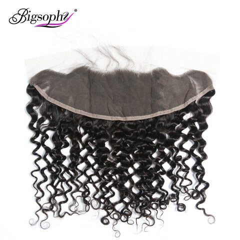 Bigsophy Peruvian Deep Wave Frontal Closure 13x4 Human Lace Frontal Closure Human Remy With Body Hair 8-20 Inches Natural Color