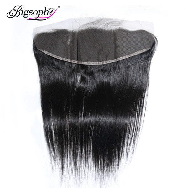 "Bigsophy Peruvian Straight Wave Closure 13*4 Human Hair Lace Frontal Closure Human Remy Hair Frontal 8""-20"" Inch Natural Color"