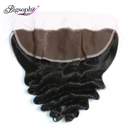 Bigsophy Peruvian Loose Wave Closure 13x4 Human Hair Lace Frontal Closure Remy With Body Hair Frontal 8-20 Inche Natural Color