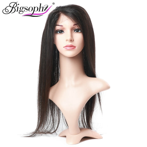 Bigsophy Brazilian 360 Lace Frontal Straight Human Hair Closure With Baby Hair 100%  Human Remy Hair Extensions  Natural Color