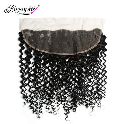 Bigsophy Mongolian Kinky Curly Closure 13X4 Human Hair  Ear To Ear Lace Frontal Closure Human Remy Hair 8 -20 Inch Natural Color