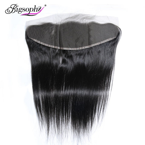 "Bigsophy Mongolian Straight Wave Closure 13*4 Human Hair Ear To Ear Lace Frontal Closure Remy Hair 8""-20"" Inch Natural Color"