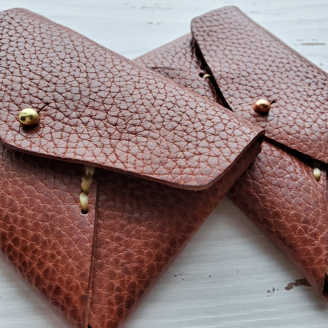 Idun goddess card case - textured tan
