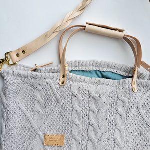 Ella cable knit slouchy bag - large