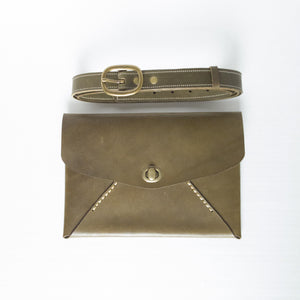 Idun goddess envelope-style clutch/hip bag - olive