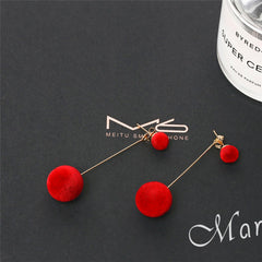 Elegant Plush Ball Earrings
