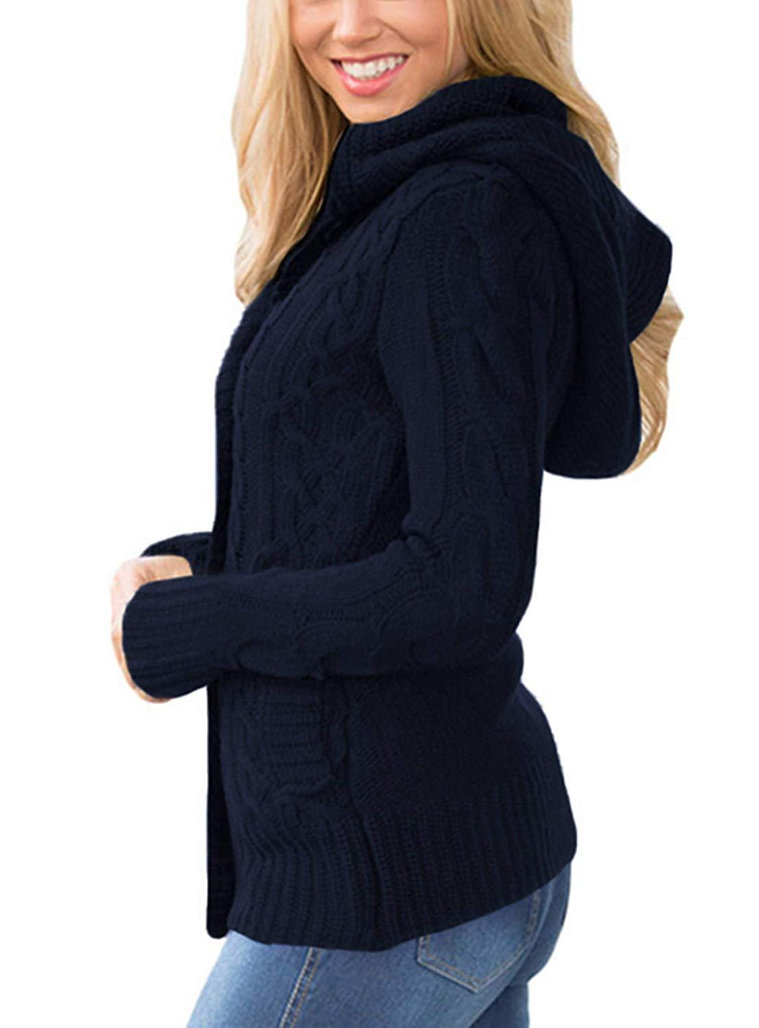 Sidefeel Women Hooded Knit Cardigans Button Cable Sweater Coat ... cdb0350b3