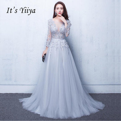 0eda98a871c5 It's Yiiya New Three Quarter Illusion Backless Lace Up Flowers Elegant Evening  Dress Floor Length Party