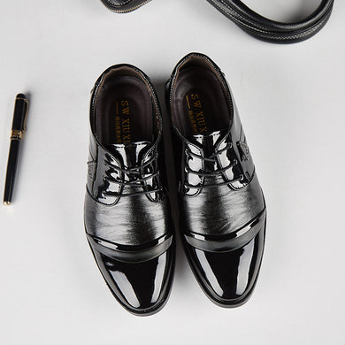 Men's Shoes Formal Shoes 2019 Fashion Casual Dress Men Shoes High-quality Shoes Leather Formal Dance Mens Tip Head Bright Leather Mesh Business Leather Shoe 2018 New