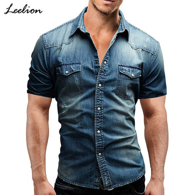 c2f908440e LeeLion 2018 New Short Sleeves Denim Shirt Men Camisa Social Masculina Slim  Fit Pocket Shirts Fashion