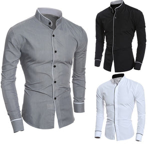 08c93ec5340 2018 New shirt Men Summer Brand Slim Fit Male Long Sleeve Basic Shirt  Blouse Top Size M-2XL camisa masculina Wholesale  FM21