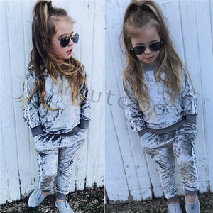 f312b5f11e Lovely Children Girls Velvet Suit Clothes Long Sleeve Striped Tops T-shirt  +Pants 2PCS Autumn Winter Outfits Set