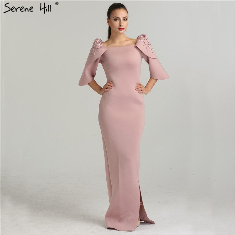 792a1fc07ef Dubai Style Mermaid Pink Half Sleeves Evening Dresses Fashion ...