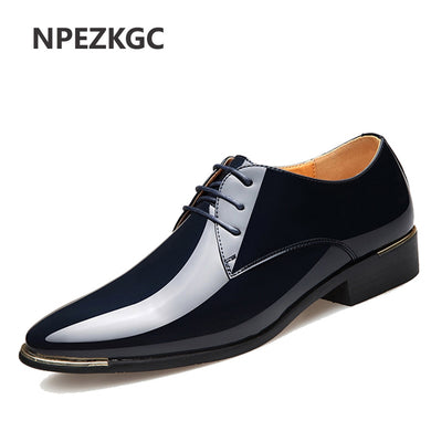 d7211d24ef9 NPEZKGC 2018 Newly Men s Quality Patent Leather Shoes Zapatos de hombre Size  38-47 Black