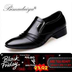 c4619220 BIMUDUIYU Luxury brand PU Leather Fashion Men Business Dress Loafers Pointy Black  Shoes Oxford Breathable Formal Wedding Shoes