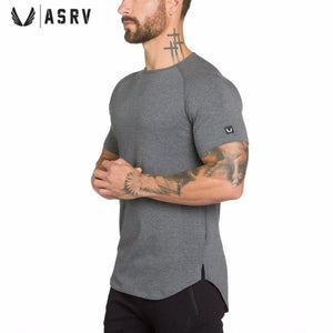 3cec87035 ASRV Men cotton Short sleeve t shirt Summer New Gyms Fitness T-shirt male  tees tops Man casual Jogger Solid clothing