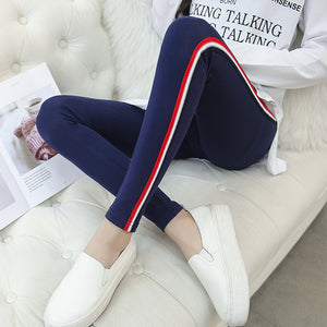 d892369c29c03 pengpious 2018 pregnant women side striped cotton skinny leggings maternity  high waist stretched belly trousers pencil