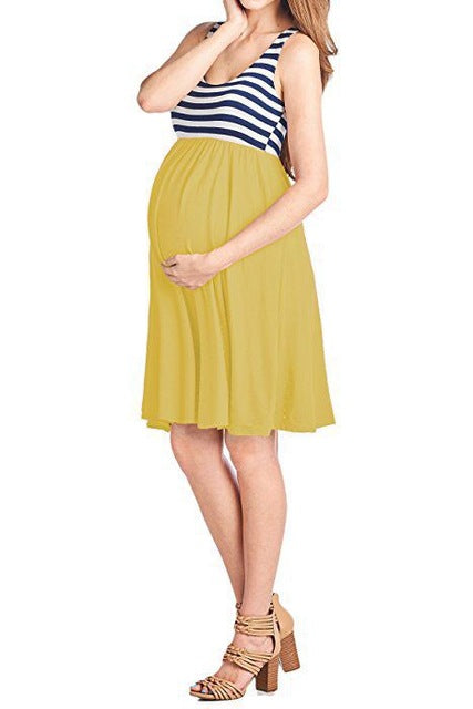 9c0d511ff15d9 ... Load image into Gallery viewer, Pregnant Clothes for Pregnancy Women  Summer Striped Dress Sleeveless Plus