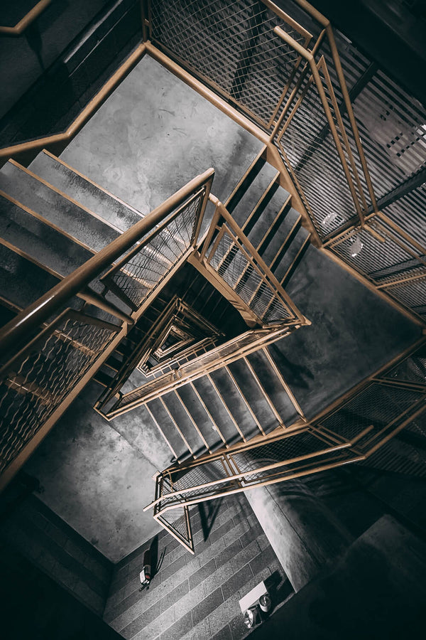 aerial-view-spiral-staircase-industrial