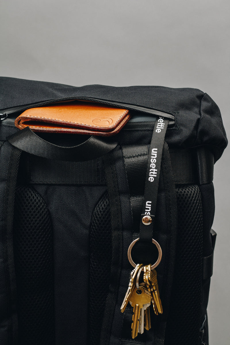 rucksack backpack with key lanyard