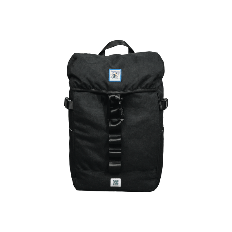 black rucksack backpack with patches