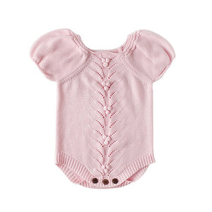 84b2f8201 Vintage Baby Romper for Girls Puff Sleeves Knitted Children Jumpsuit Baby  Girl Rompers Spring Autumn Toddler Baby Onesie