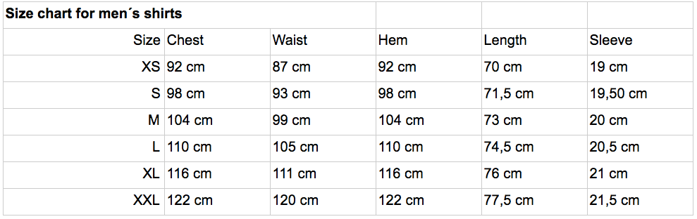 Pure Waste men´s size chart