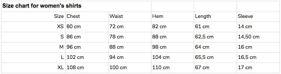 Pure Waste women´s size chart