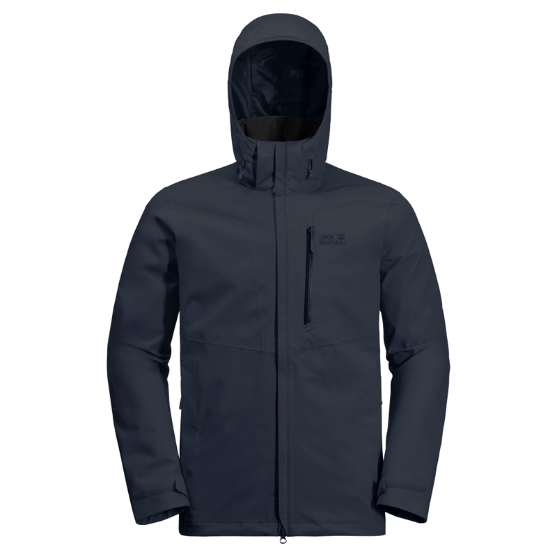 Jack Wolfskin - Men's  KEPLAR TRAIL JACKET - Blue - Waterproof shell jacket from recycled fabric - Weekendbee - sustainable sportswear